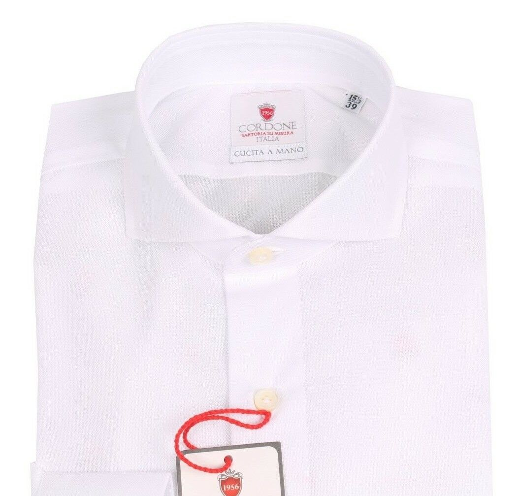 NEW handmade Cordone1956 inglese cotton shirt size 39 (US 15 1 2) white slim fit