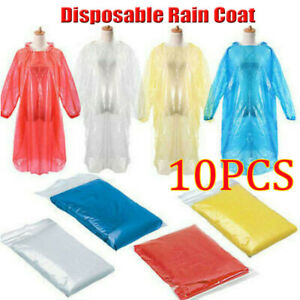 10-Adult-Men-Women-Disposable-Emergency-Waterproof-Rain-Coat-Poncho-Camping-Hood
