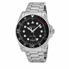 Gucci Men's Dive Black Dial Stainless Steel Swiss Quartz Watch YA136208