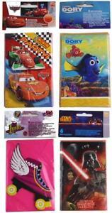 Disney-Einladungskarten-6-Stueck-mit-Umschlag-Cars-Star-Wars-Soy-Luna-Dory