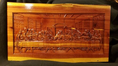 3D Carving of Da Vinci/'s Last Supper Handmade Cedar