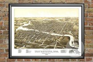 Old-Map-of-Watertown-WI-from-1885-Vintage-Wisconsin-Art-Historic-Decor