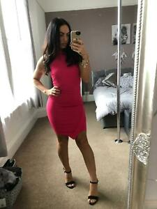 New-Bodycon-Pink-Fitted-Dress-Stretch-Party-Clubwear-Womens-Size-UK