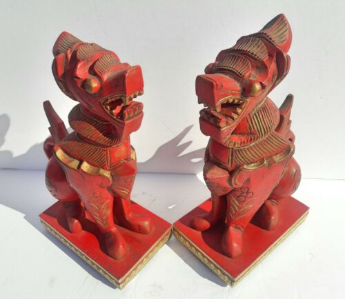 Vintage Pair Of Hand Carved Wood Feng Shui Foo Dogs