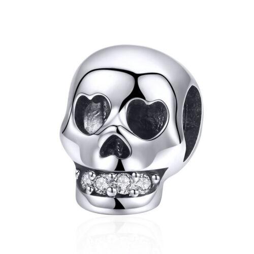 Argent Sterling 925 Crâne émail Pendentif Charme Pour Fille Bracelet Collier Bijoux