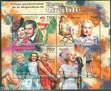 CENTRAL  AFRICA 2013 40th MEMORIAL ANNIVERSARY BETTY GRABLE SHEET  MINT  NH
