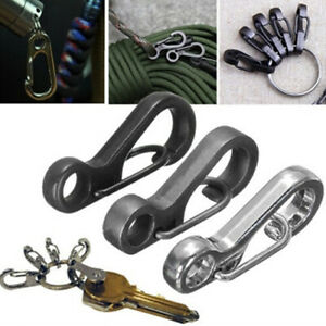 10PCS Mini SF Carabiner Key Ring Survival Gear Tactical Keychain Spring Hook