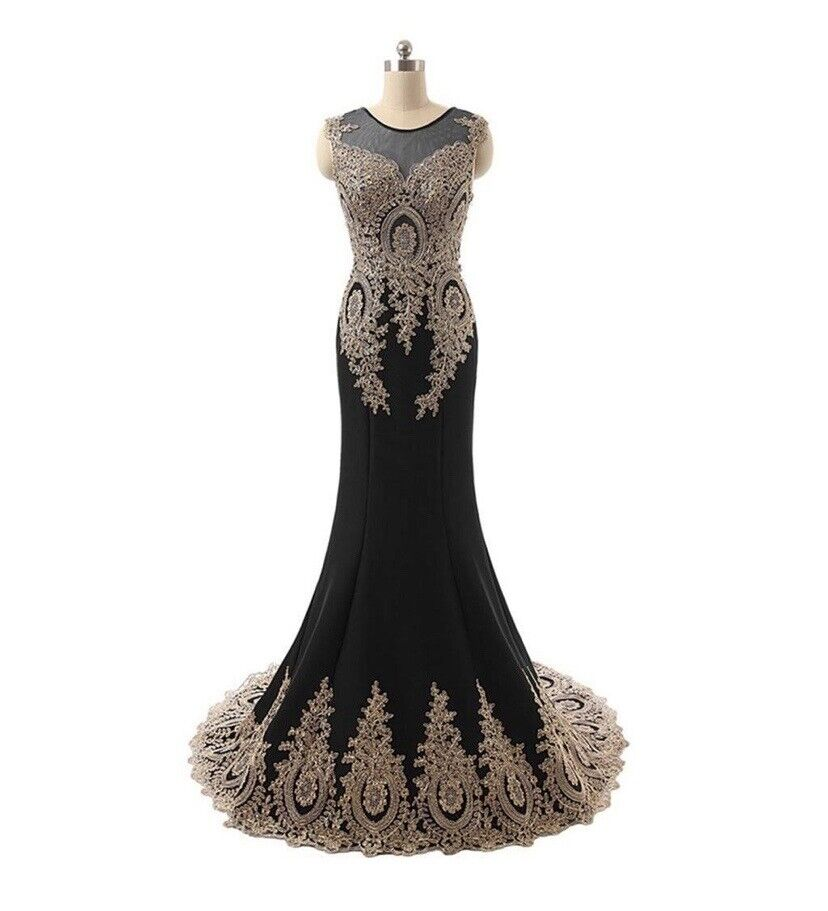 Abby Paris Women's Embroidered Evening Dress, Black/Gold, Size 18