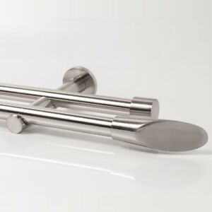 110-600cm-Vorhang-Gardinenstange-Neu-zweilaeufig-Edelstahl-Design-20mm-Ellipse