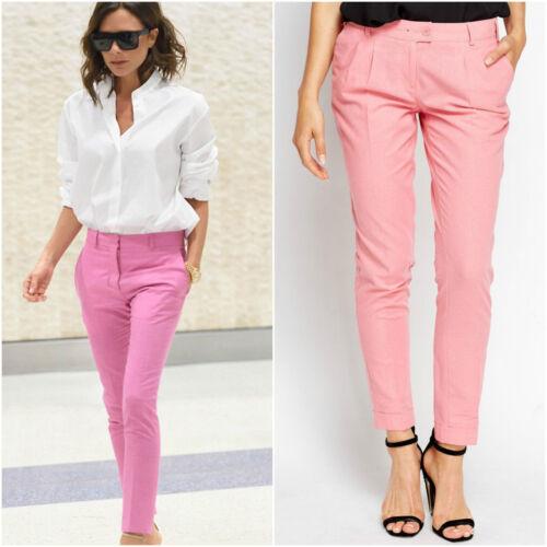 Biancheria da Donna Rosa Blu Pantaloni Chinos lunga svasata Tasca Pantaloni Sigaretta Formale
