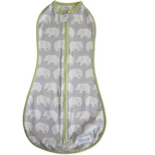 Woombie 5-13 lbs 0-3 month Swaddle Original Elephants Gray /& Green Newborn
