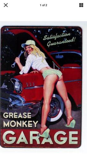 "TIN SIGN ""Sexy Mechanic"" Garage Babe Tools Rustic Mancave Vintage Cars Pinup Gal"