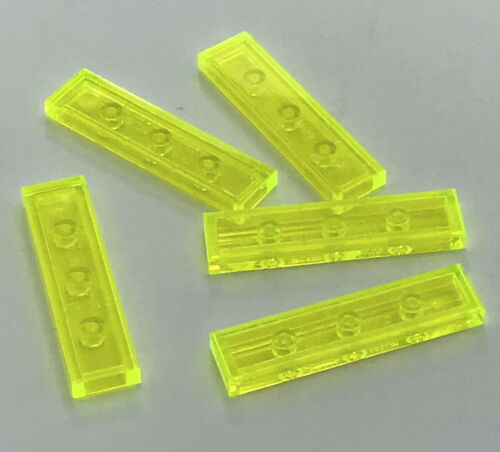 Lego 5 New Trans-Neon Green Tiles 1 x 4 Flat Smooth Pieces Parts