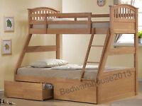 Three Sleeper Bunk Bed Includes 2 Storage Drawers Triple Sleeper