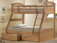 Three Sleeper Bunk Bed Includes 2 Drawers With Mattress Option, Triple Sleeper
