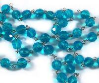 1 Ft 12 Bright Blue Rosary Faceted Glass Beads Silver Link Chain Necklace 8mm