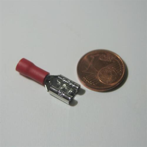 100 Kabelschuhe Flachsteckhülsen rot 6,3 x0,8mm für 0,5-1,5mm² Kabelschuh Buchse