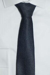 HUGO-BOSS-TAILORED-KRAWATTE-100-Seide-Hand-Made-in-Italy-Open-Grey