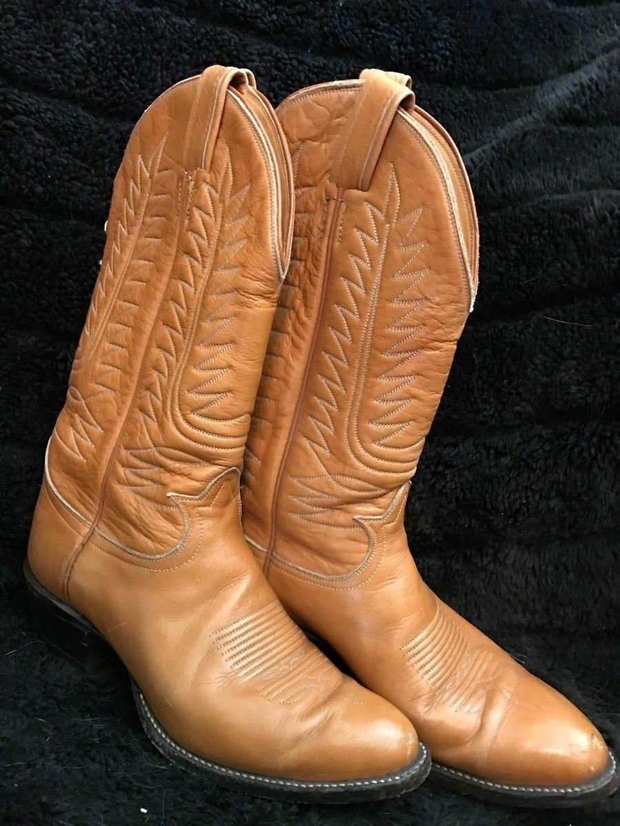 VTG MENS 8  LEATHER TONY LAMA TAN TWO TONE LEATHER WESTERN COWBOY BOOTS