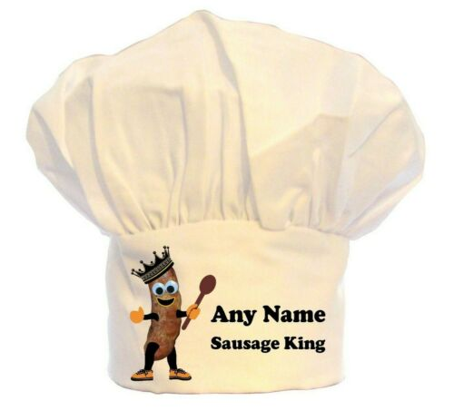 PERSONALISED SAUSAGE KING PRINT CHEFS HAT BBQ 100/% POLYESTER GIFT BBQ KITCHEN