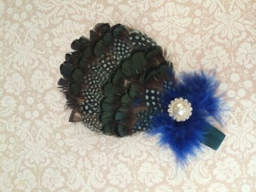 Newborn Baby Girl Peacock Feather /& Sparkle Rhinestone Headband fits 0-12 months