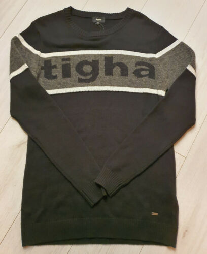 Tigha Hommes Tricot Pull Bodo Black//Racing Yellow taille M