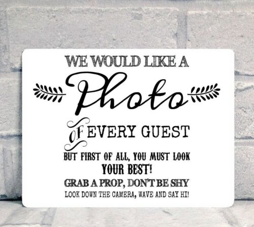 A5 Photo Booth Prop Box Wedding Party Metal Table Sign Various Colours