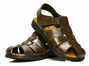 Mens-Leather-Walking-Touch-Fasten-Summer-Beach-Mules-Gladiator-Sandals-Shoe-Size