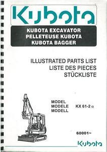 kubota excavator kx61 2 parts manual ser no 60001 ebay rh ebay co uk L245 Kubota Service Manuals Kubota Tractor Repair Manual