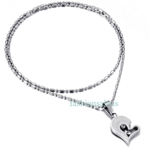 """/""""I Love You/""""Matching Hearts Lover/'s Couple/'s Pendant Stainless Steel Necklace US"""