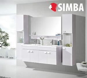 Detalles de Muebles para baño para cuarto de baño espejo 120cm WHITE  ELEGANCE Grifos incl.
