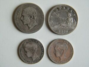 Lote-4-monedas-de-2-y-1-peseta-de-Plata-Alfonso-XII-y-XIII