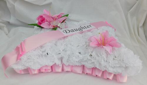 Funeral Flowers Pink Pillow Wreath Tribute Memorial Daughter,Mum,Nan,Sister,Aunt