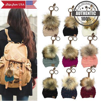 CC Miniature Solid Beanie Cute Hat Fur Pom Pom Handbags Bag Key Ring Chain