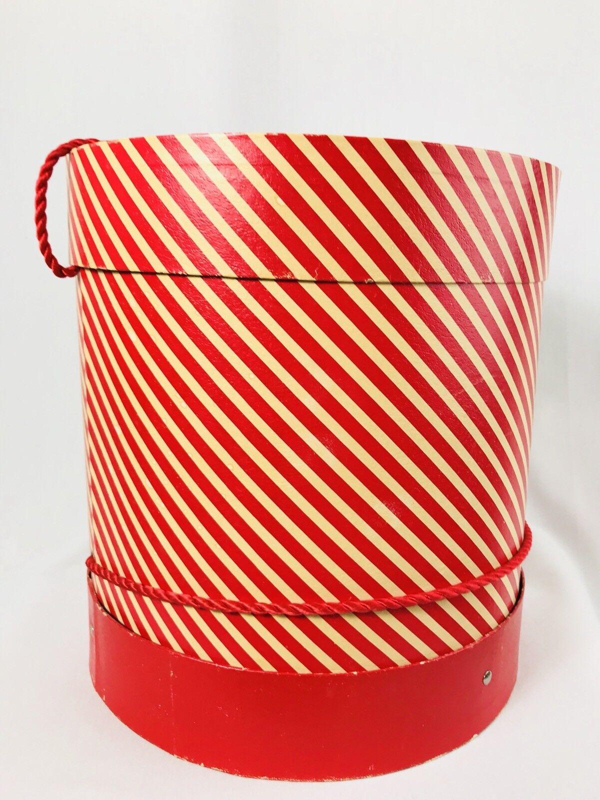 Vintage Antique Hat Box rot Weiß striped Film Prop Tall