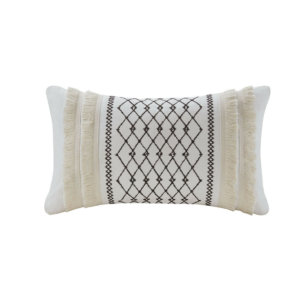 INK+IVY Bea Embroidered Cotton Oblong Pillow with Tassels
