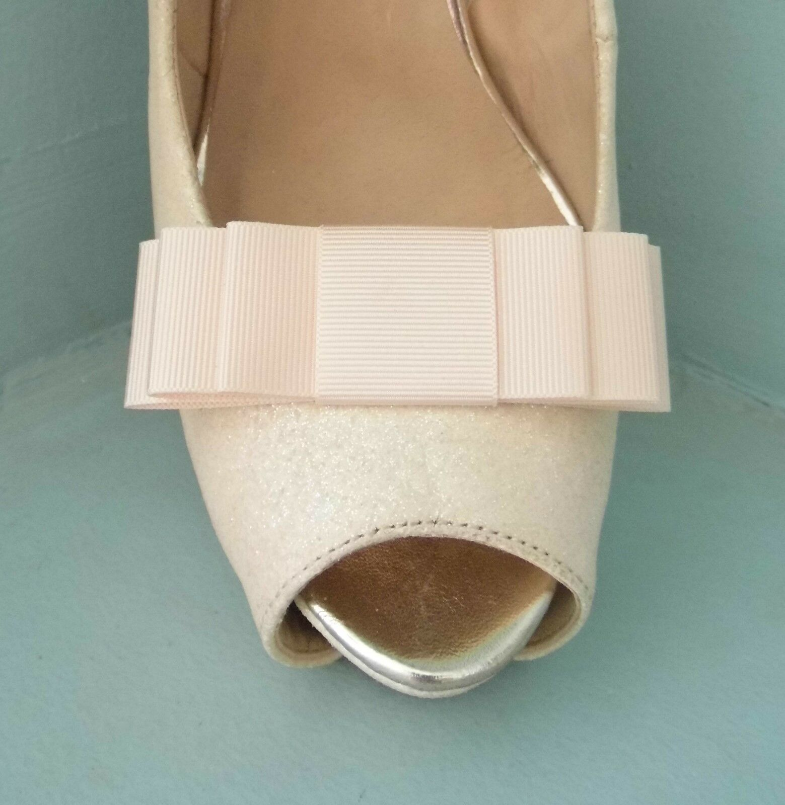 2 Pale Peach Grosgrain Triple Bow Clips for Shoes - other colours on request