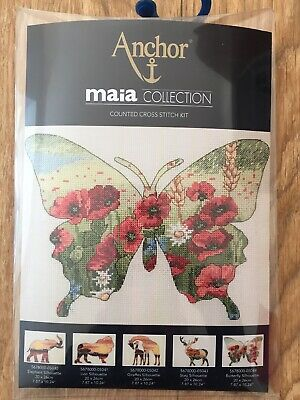 Anchor Maia 14 Count Cross Stitch Kit Butterfly Poppies Wild Flowers 20 x 26 cm