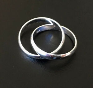 925 Sterling Silver 2 Interlocking Stackable Russian Wedding Band Size 6 7 8 9
