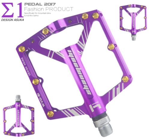 Aluminum XC DH MTB Mountain Road Bike 4 Bearing Pedals flat Bicycle Pedal Purple