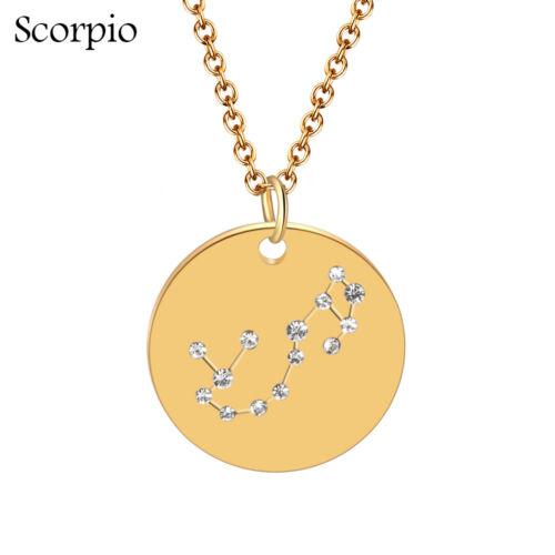 Steel Crystal Zodiac Pendant Gold Chain Constellation Zirconia Necklace
