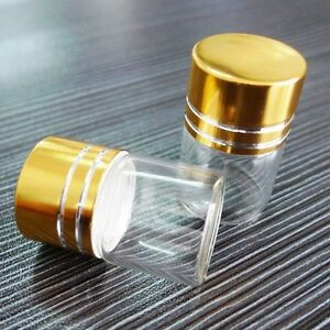 10Pcs 7ml Tiny Small Glass Botle New Clear Empty Bottle Glass Vials W// Screw Cap