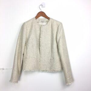 Alice-Olivia-Blazer-Jacket-L-12-14-UK-Cream-Ivory-Tweed-Sequin-Preppy-JackieO
