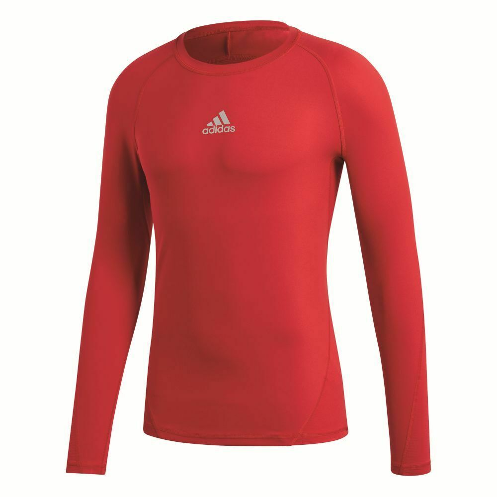 Adidas Mens Alphaskin Sports Football Soccer Long Sleeve Base Layer Top Red