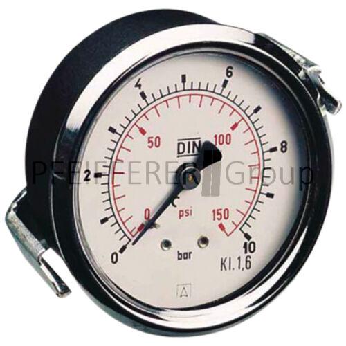 Pneumatik Manometer M-DH-63-1/0-1/4-St-bar/psi D=63mm Anschluss hinten