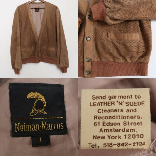 Vintage Neiman Marcus Jacket Suede Leather Button