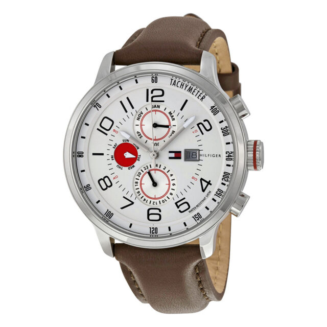 Tommy Hilfiger Sport Multifunctional White Dial Brown Leather Mens Watch 1790858
