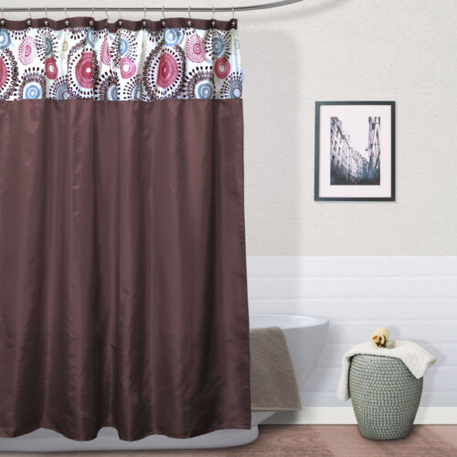 """Meghan Circles Chocolate Brown Red Paisley Flocking Fabric Shower Curtain 70x72/"""""""