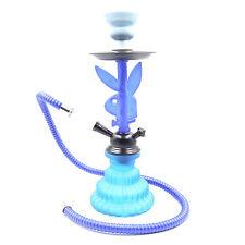 11' Single Hose Rabbit Stem Hookah Shisha Glass Bong - Blue w/ Hose & Tongs