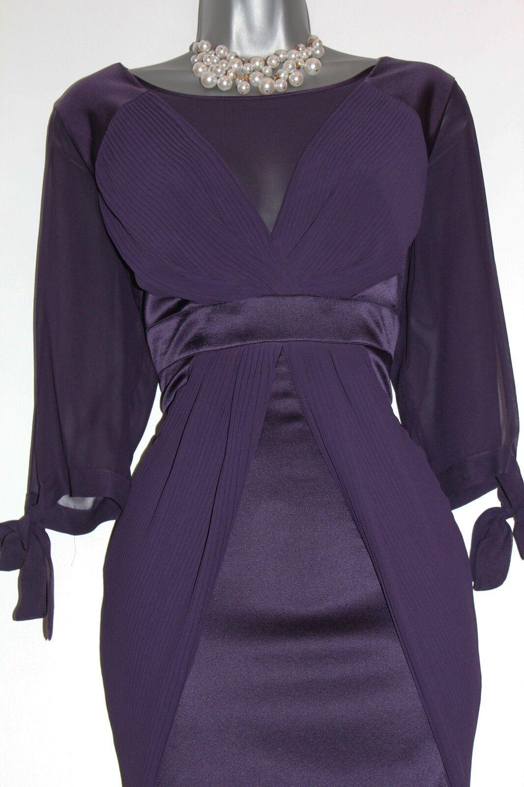KAREN MILLEN 14UK lila Silk Split 3 4 4 4 Sleeves Evening Party Bodycon Mini Dress 04f58a